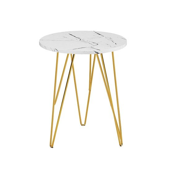 Kerlin Round Lamp Table In White Marble Effect With Metal Base