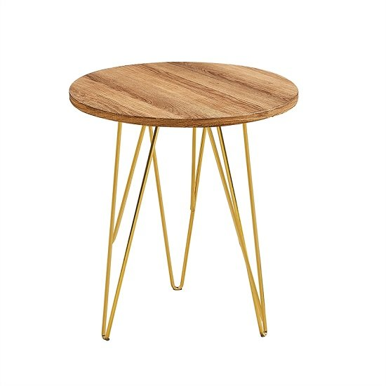 Kerlin Round Lamp Table In Wooden Effect With Metal Base