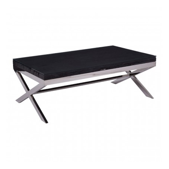 View Kero glass top coffee table in black with cross base