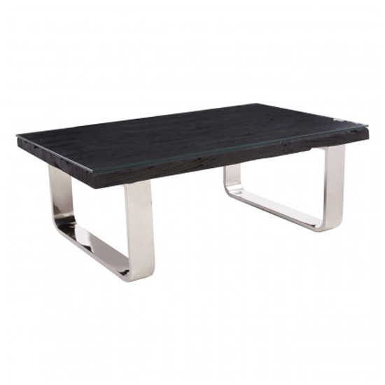 Kero Glass Top Coffee Table In Black With U-Shaped Base