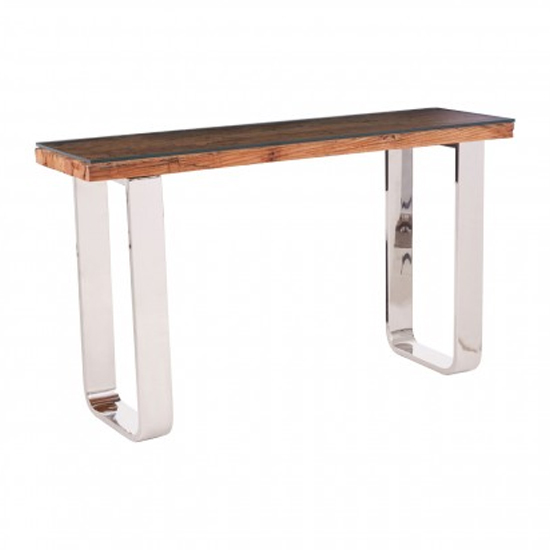 Kero Glass Top Console Table In Natural With U-Shaped Base