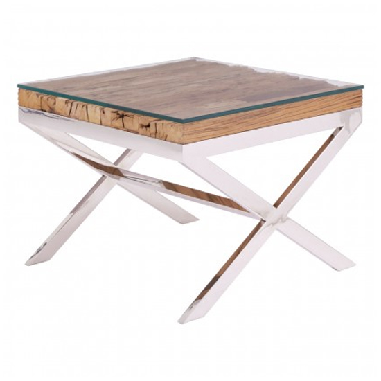 Kero Glass Top End Table In Natural With Cross Base