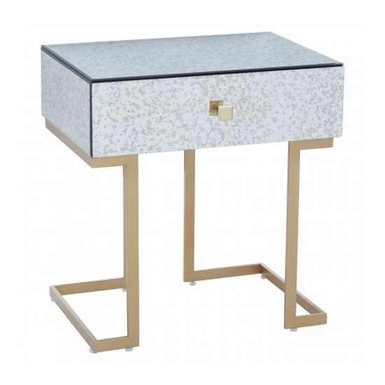 Keseni Mirrored Glass End Table In Silver With Gold Legs_2