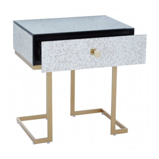 Keseni Mirrored Glass End Table In Silver With Gold Legs_3