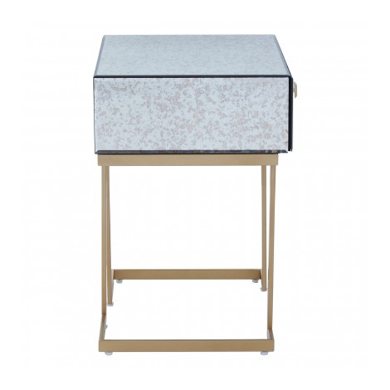 Keseni Mirrored Glass End Table In Silver With Gold Legs_4