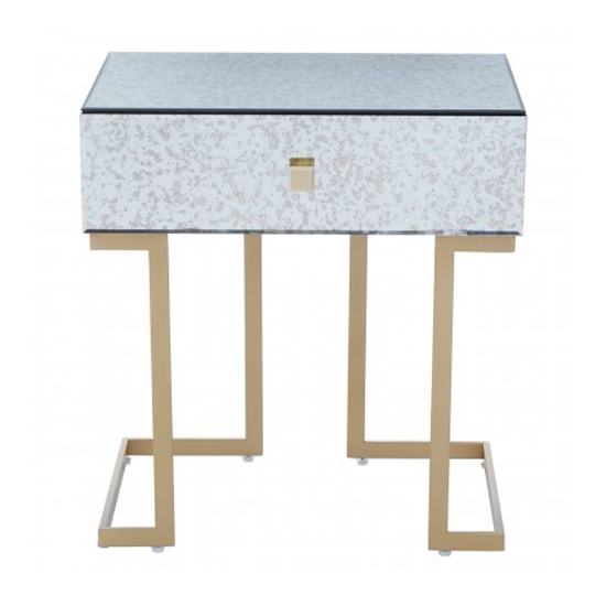 Keseni Mirrored Glass End Table In Silver With Gold Legs