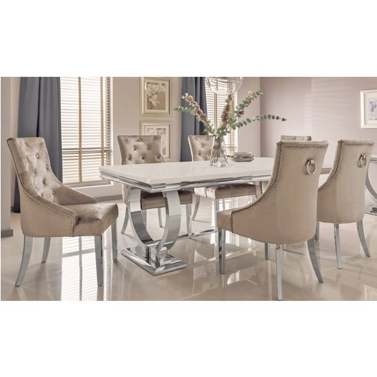 View Kesley large cream marble dining table 8 enmore champagne chairs