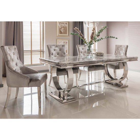 View Kesley large grey marble dining table 6 enmore pewter chairs
