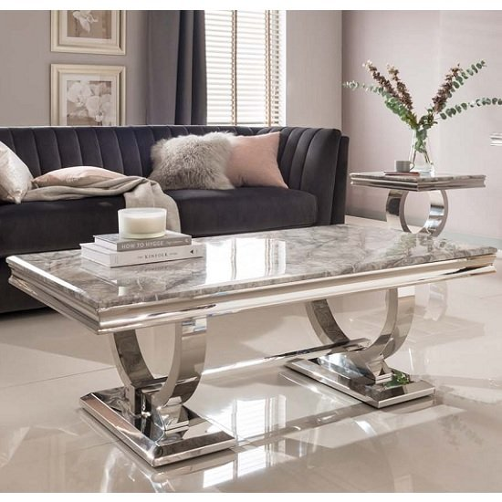 Kesley Coffee Table In Grey Marble Top And Stainless Steel