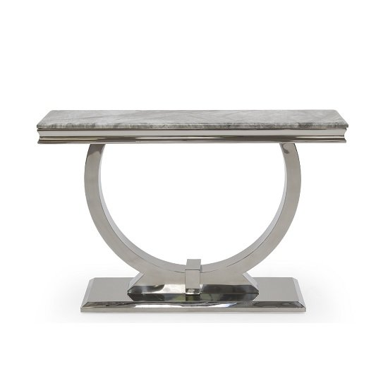 Kesley Marble Console Table In Grey With Stainless Steel Base_2