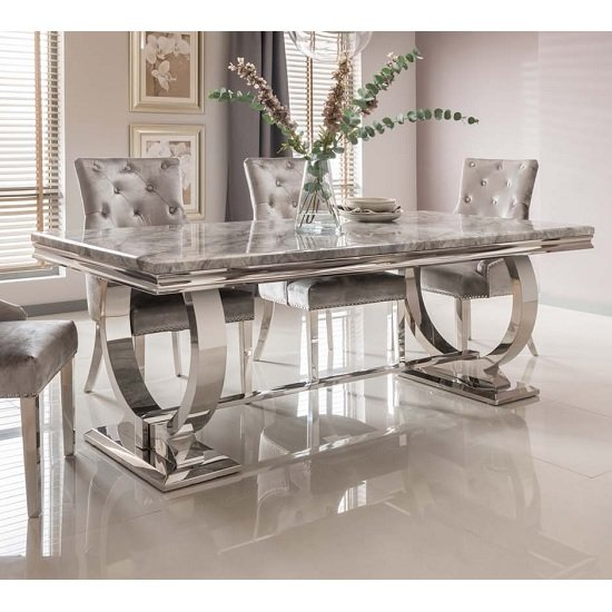 Kesley Marble Dining Table In Grey With Stainless Steel Base