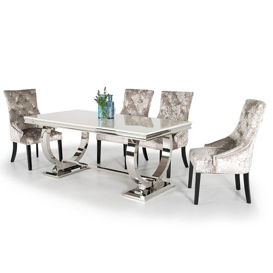 Kesley Dining Table In Cream Marble Top And 6 Acton Mink Chairs_1