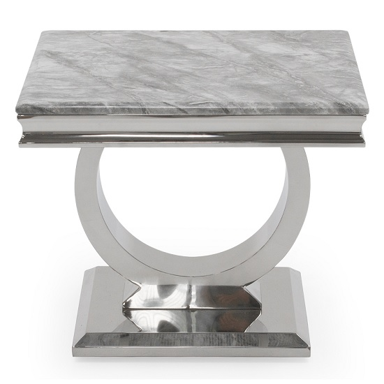 Kesley End Table In Grey Marble Top With Stainless Steel Base_2