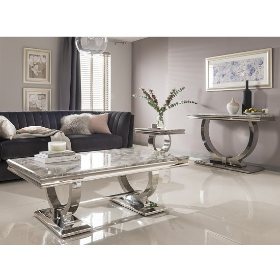 Kesley Coffee Table In Grey Marble Top And Stainless Steel Base_4