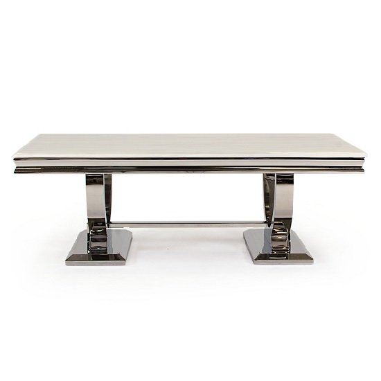 Kesley Marble Coffee Table In White With Stainless Steel Base