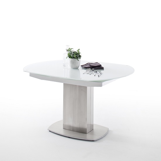 Keswick Glass Extendable Dining Table Boat Shape In Glossy White 1