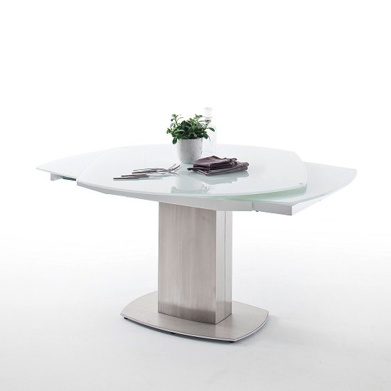 Keswick Glass Extendable Dining Table Boat Shape In Glossy White_2