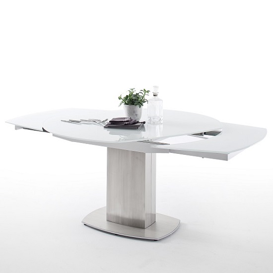 Keswick Glass Extendable Dining Table Boat Shape In Glossy White_3