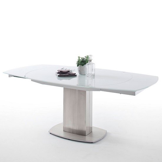 Keswick Glass Extendable Dining Table Boat Shape In Glossy White_4
