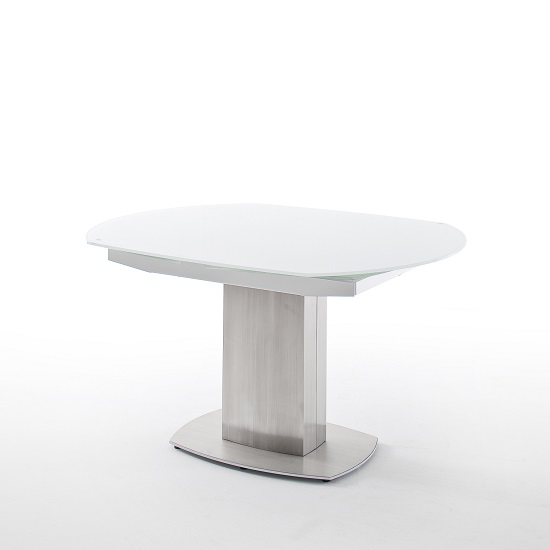 Keswick Glass Extendable Dining Table Boat Shape In Glossy White_5