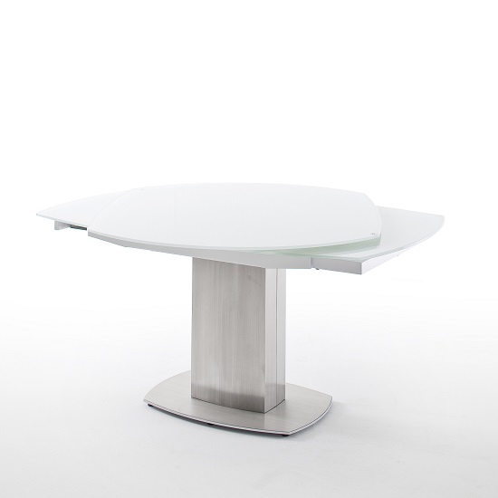 Keswick Glass Extendable Dining Table Boat Shape In Glossy White_6