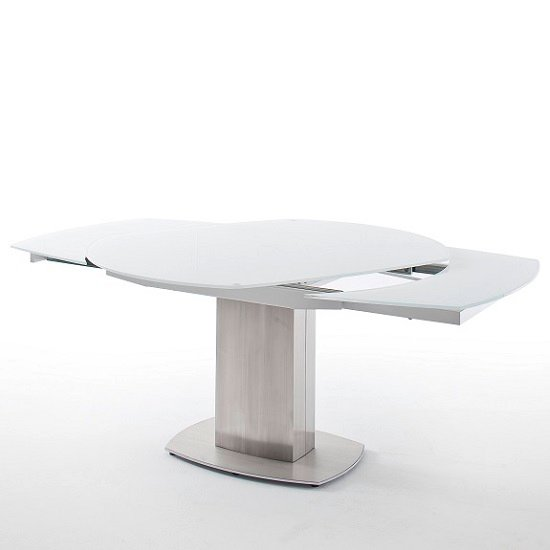 Keswick Glass Extendable Dining Table Boat Shape In Glossy White_7