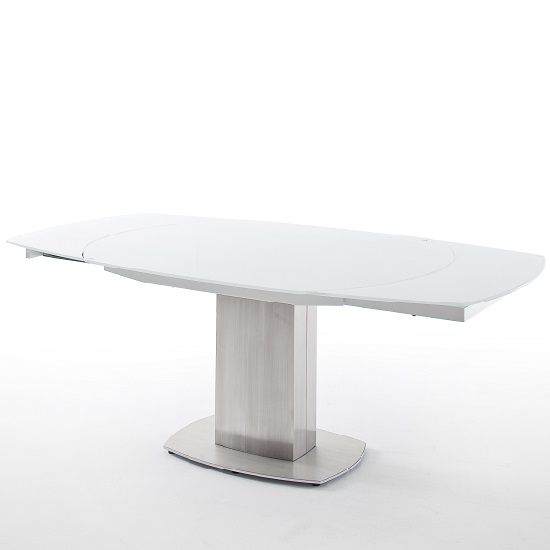 Keswick Glass Extendable Dining Table Boat Shape In Glossy White_8
