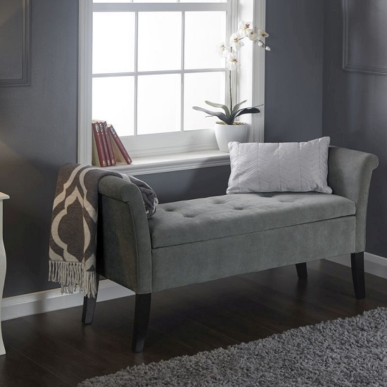 Product photograph showing Keswick Ottoman Seat In Grey Chenille Fabric With Dark Legs