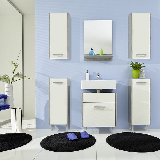 Read more about Wilmore bathroom furniture set 1 in matt white and concrete