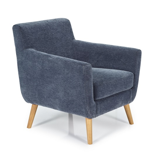 Paloma Fabric Lounge Chair In Blue With Wooden Legs