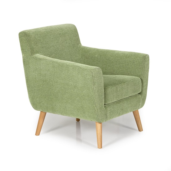 Paloma Fabric Lounge Chair In Green With Wooden Legs