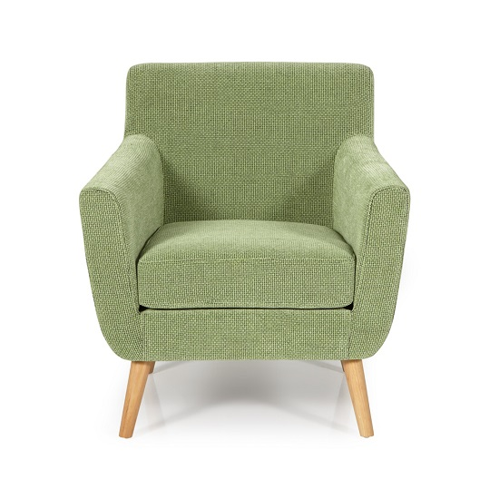 Paloma Fabric Lounge Chair In Green With Wooden Legs_2