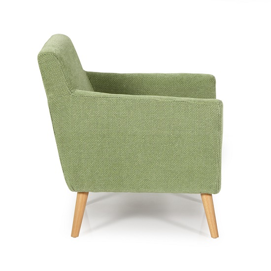 Paloma Fabric Lounge Chair In Green With Wooden Legs_3