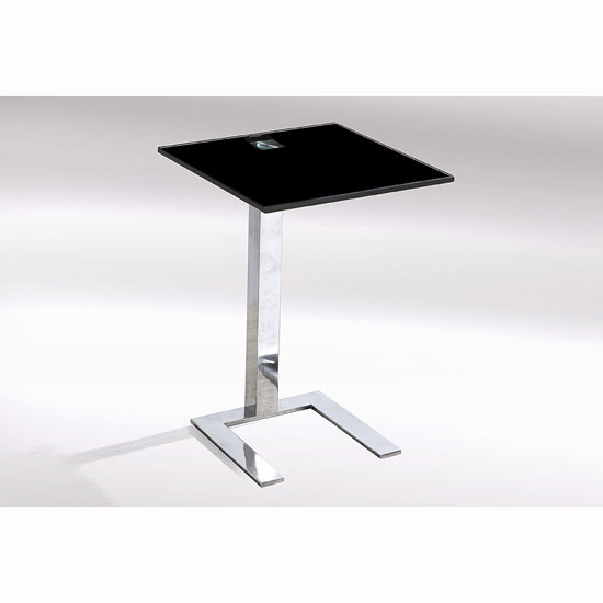 Kia Side Lamp Table In Black Glass Top In A Pair