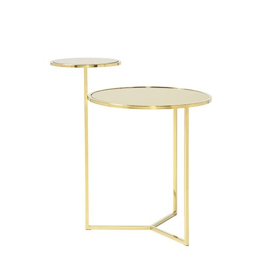 Kiana Mirrored Top Lamp Table With Gold Plated Stainless Steel