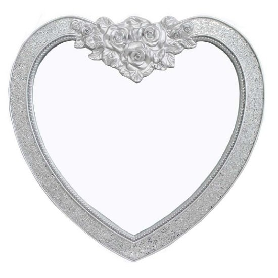 Kiara Heart Shape Wall Mirror In Silver Mosaic Frame