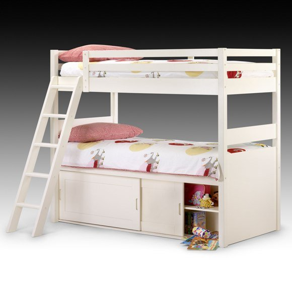 White Kids Bunk Bed with Storage