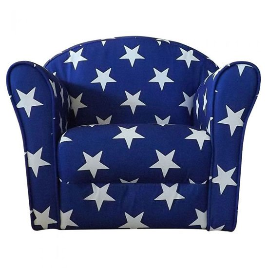 Kids Mini Fabric Armchair In Blue With White Stars_2