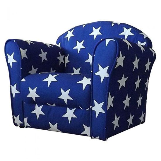 Kids Mini Fabric Armchair In Blue With White Stars_1