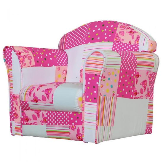Product photograph showing Kids Mini Fabric Armchair In White With Pink Patchwork