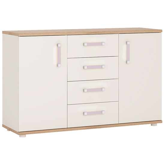 Kidton 2 Door 4 Drawer Gloss Kids Sideboard With Lilac Handles