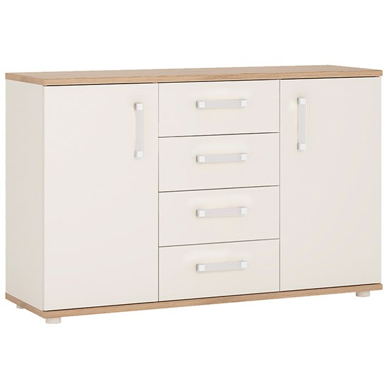 Kast Wooden Sideboard In White Gloss Oak With 2 Doors 4 Drawers
