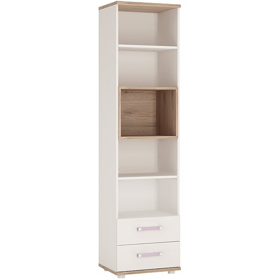 Kidton High Gloss Kids Bookcase In White With Lilac Handles