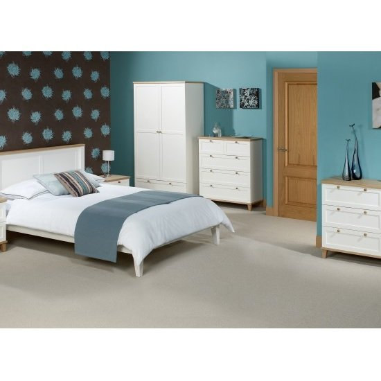 Kieta Wooden Wardrobe In White With 2 Doors And 1 Drawer_2