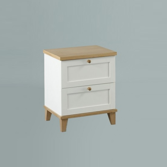 Kieta Wooden Bedside Cabinet In White With 2 Drawers
