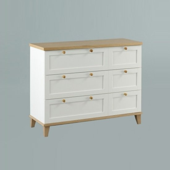 Kieta Wooden Chest Of Drawers Wide In White With 6 Drawers