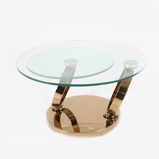 View Kilmer rotating glass coffee table round with rosegold base