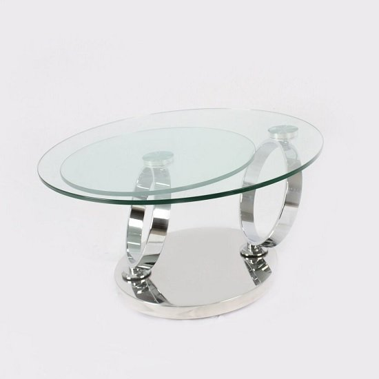 Kilmer Rotating Glass Coffee Table Round With Silver Base Furniture In Fashion