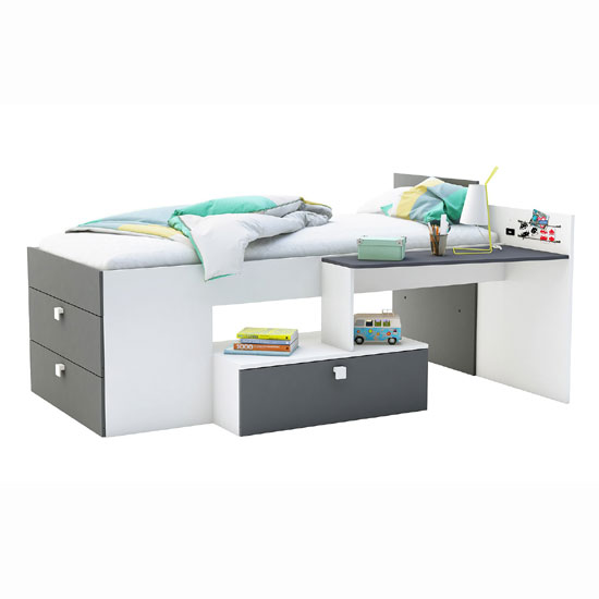 Read more about Kimberley children bed in pearl white and graphite grey