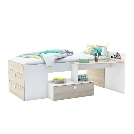 Kimberley Wooden Children Bed In Brushed Oak And Pearl White